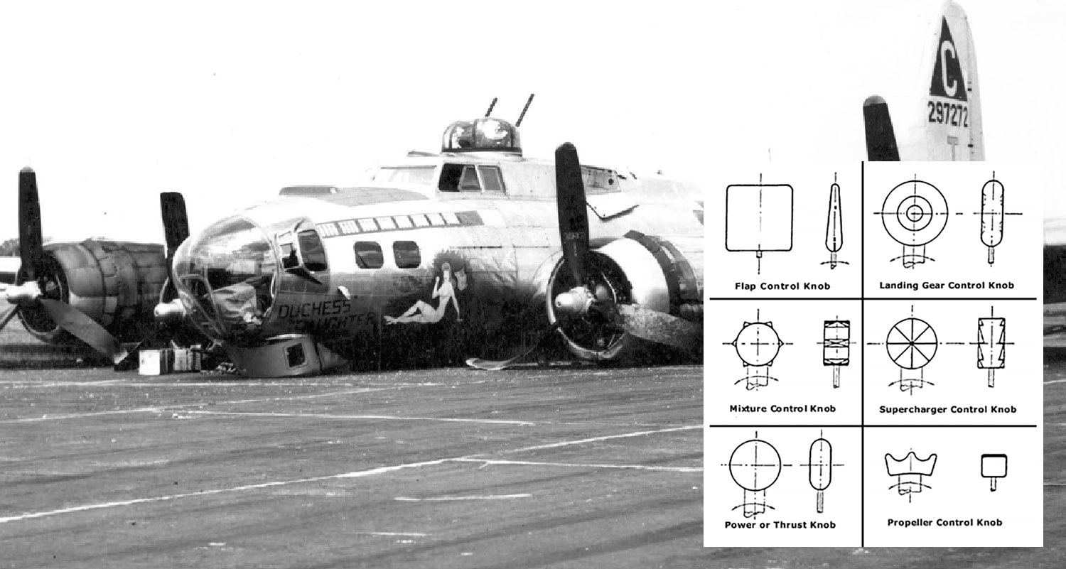 B-17 belly landing, and the shape coding that helped to eradicate the problem. Source: Wikipedia